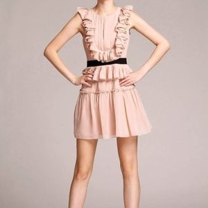 BCBGMAXAZRIA Britt Pleated Ruffle Dress Rose Cream